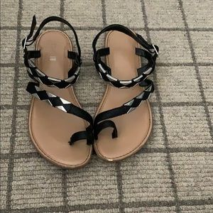 Bar III black and silver sandals